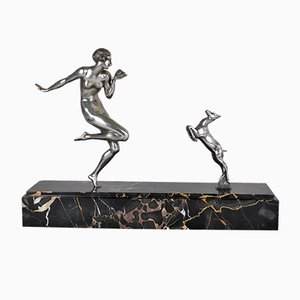 Bailarina Art Déco de bronce desnudo en La Chèvre Sculpture de Gautier, años 30