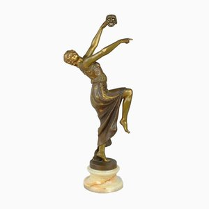 Art Deco Bronze Dancer in Mask Sculpture by Joe Descomps, 1930s
