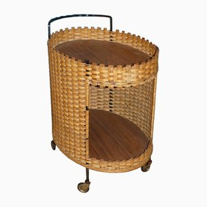 Mid-Century Wicker Bar Trolley