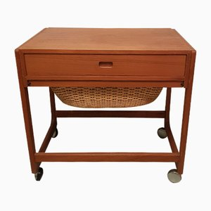 Danish Teak Sewing Table on Casters, 1960s