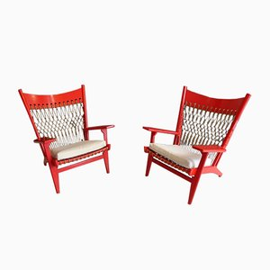 JH 719 Long Web Chairs by Hans J. Wegner, 1960s, Set of 2