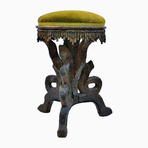 19th Century Carved Wood Round Stool from Foret Noire