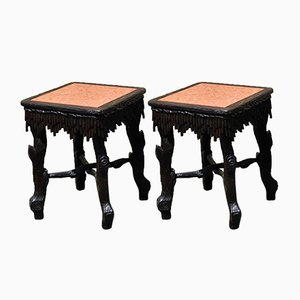 19th Century Carved Wood Stools from Foret Noire, Set of 6