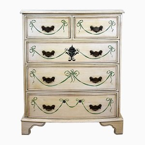Vintage Painted Decorated Bow Front Chest of Drawers