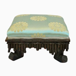 19th Century Carved Wood Footstools from Foret Noire, Set of 2