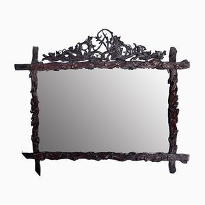 19th Century Carved Wood Mirror from Foret Noire