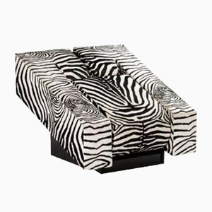 Obliqua Armchair in Wood and Animalier Fabric by Mario Botta for Alias, 1983