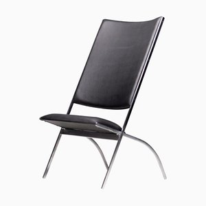 Gabriella Lounge Chair in Black Faux Leather by Gio Ponti for Pallucco, 1991