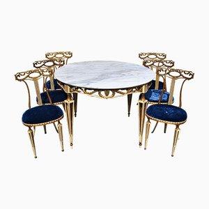 Sedie da pranzo e tavolo laccate oro e color oro di Palladio, Italia, anni '50, set di 5