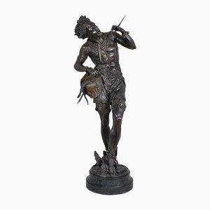 Große Dunkelblaue Napoleon III Patina Hindu Skulptur