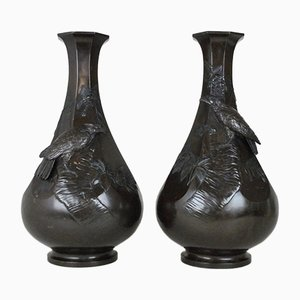 Japanese Meiji Bronze Vases with Eagles, Set of 2