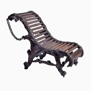 19th Century Carved Wood Lounge Chair from Foret Noire