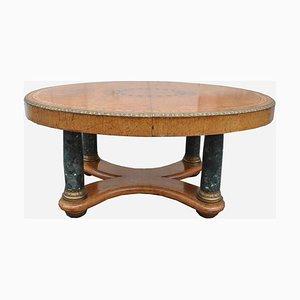 Table de Salle à Manger Ovale Vintage en Orme, Bronze et Marbre
