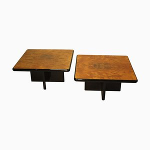 Vintage Italian Coffee Tables in Black Lacquer and Burr Wood, Set of 2