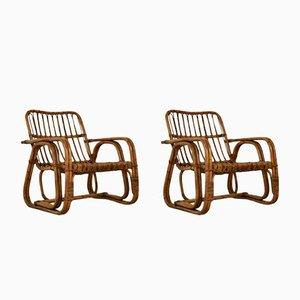 Mid-Century Italian Rattan Armchairs, 1960s, Set of 2