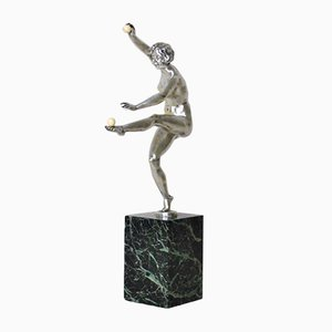 Art Deco Silver Bronze Dancer Sculpture by L Fontinelle, 1930s