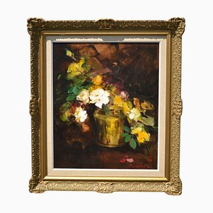 Mid-Century Floral Still Life with White Roses Oil on Board by Pujasstrom
