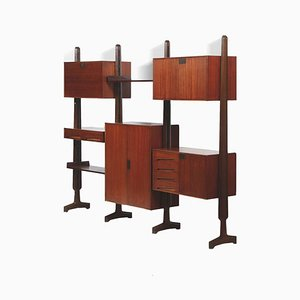 Mid-Century Rosewood Bookcase with Shelves and Storage Cabinets by Vittorio Dassi for Dassi