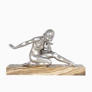 Escultura de mujer joven Art Déco de bronce de Armand Godard, años 30