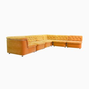 Large German Modular Lounge Sofa in Ochre Peach Velvet Fabric from Dreipunkt International, 1970s, Set of 6