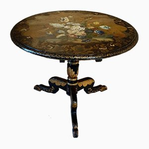 Antique Regency Black Lacquer Tilt-Top Table