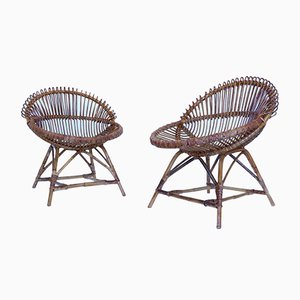 Bamboo Lounge Chairs, 1950s, Set of 2