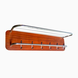 Vintage Chrome Metal and Wooden Board Coat Rack, 1950s