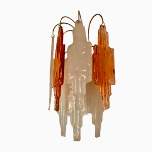 Bi-Color Glass Wall Lights by Poliarte for Mazzega, 1970s, Set of 2