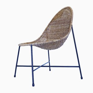 Mid-Century Iron and Rattan Lounge Chair