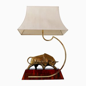 Large Italian Modernist Brass Bull Light Object or Table Lamp by D. Delo, 1970s