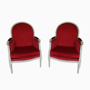 Antique French Louis XVI Lounge Chairs, Set of 2