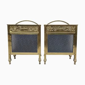 Mid-Century Modern Bronze Vitrine Nightstands with Glass Door and Drawer, 1930s, Set of 2