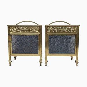 Mid-Century Modern Bronze Vitrinen Nachttische mit Glastür und Schublade, 1930er, 2er Set