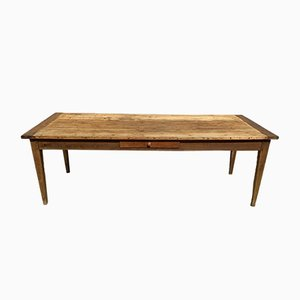 Wooden Farmhouse Dining Table with Drawer, 1930s