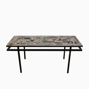 Belgian Brutalist Ceramic & Steel Coffee Table, 1970s