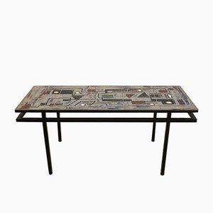 Belgian Brutalist Ceramic & Steel Coffee Table, 1970s
