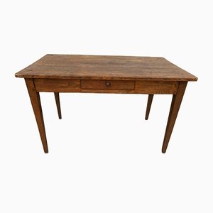 Wooden Farmhouse Dining Table or Desk with Drawer, 1930s
