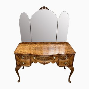 Queen Anne Burr Walnut Dressing Table, 1920s