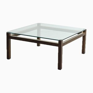 Wengé Liesbosch TZ41 Coffee Table with Glass Top by Kho Liang Ie for 't Spectrum, 1950s