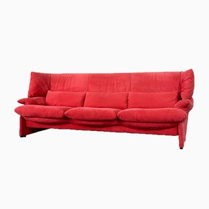 Italian 3-Seat Portovenere Sofa in Cherry Red Velvet by Vico Magistretti for Cassina, 1980s