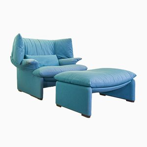 Italian Portovenere Lounge Chair & Ottoman in Blue Fabric by Vico Magistretti for Cassina, 1980s, Set of 2