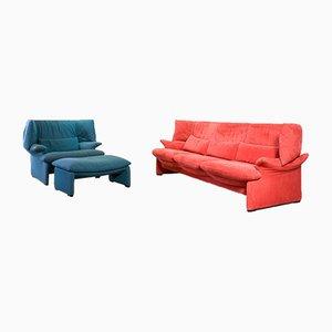 Italienisches Portovenere 3-Sitzer Sofa, Sessel & Fußhocker von Vico Magistretti für Cassina, 1980er, 3er Set