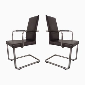 Leather Cantilever Dining Chairs by Karl Friedrich Förster for KFF, 1990s, Set of 6