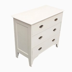 Small Oak Painted White Chest of Drawers, 1920s