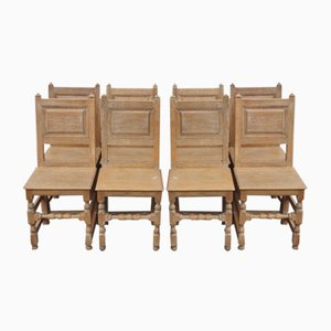 Antique Limed Oak Dining Chairs with Panelled Backs, 1900s, Set of 8