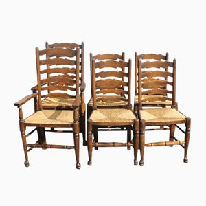 Oak Ladderback Dining Chairs with Rush Seats, 1940s, Set of 6