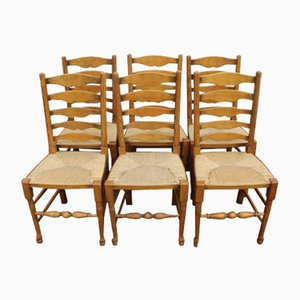 Golden Oak Dining Table & Chairs Set, 1940s, Set of 7
