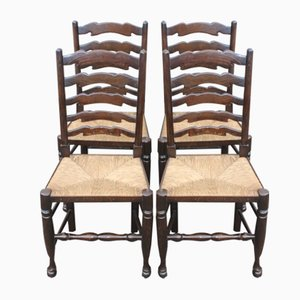 Oak Ladderback Chairs with Rush Seats, 1960s, Set of 4