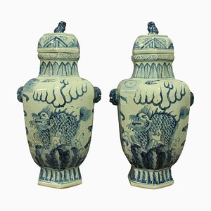 Large Chinese Vases with Covers, 1930s, Set of 2