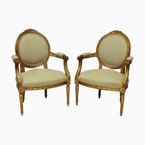 Antike vergoldete Armlehnstühle im Louis XV Stil, 2er Set